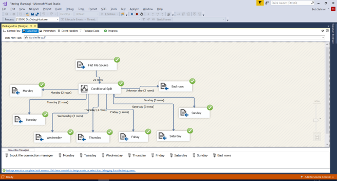 SSIS showing the results of running the task