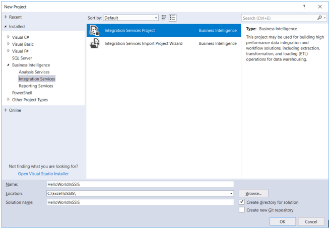 Creating a new SSIS project in Visual Studio