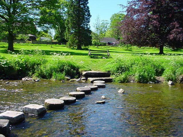 Stepping stones over a river