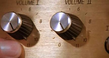 Still from This is Spinal Tap, showing volume knobs going all the way up to 11