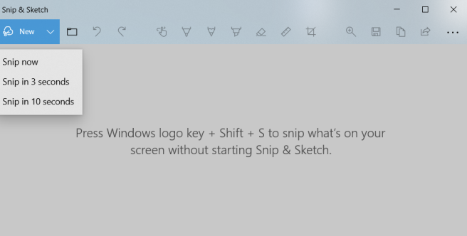 Snip and Sketch, showing the New menu: Snip now, snip in 3 seconds, snip in 10 seconds