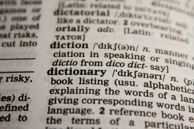 Photo of dictionary entries for dictatorial, diction and dictionary
