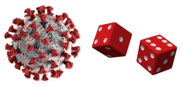 Corona virus and two red dice