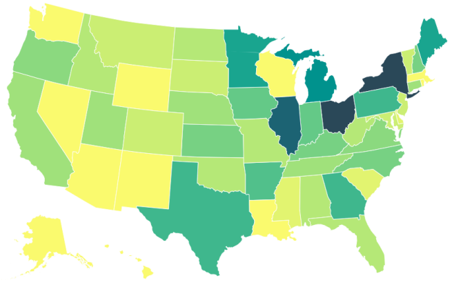 Choropleth USA map showing how many times another country's capital appears in each state