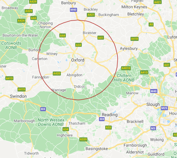A map showing a circle around Oxford, with radius 15 miles