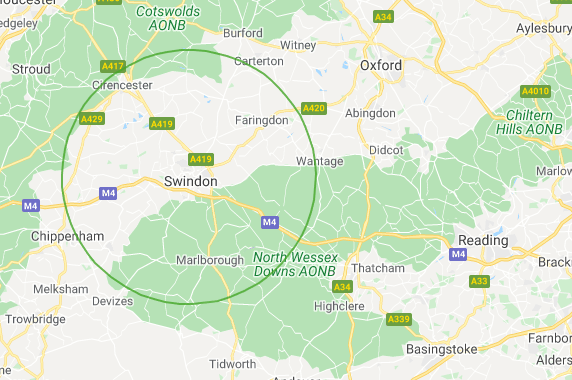 A map showing a circle around Swindon with radius of 15 miles
