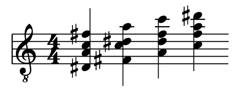 Music stave showing four chords
