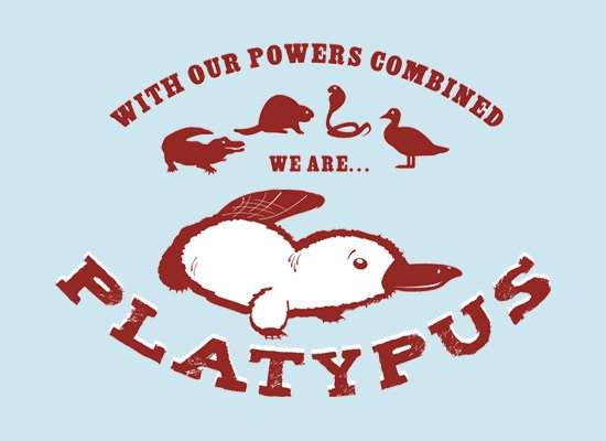With our powers combined (a crocodile, beaver, snake and duck) we are... platypus.